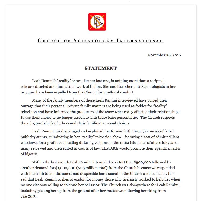 church of scientology statement re leah remini